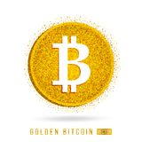 The letter B - the financial sign bitcoin. Gold coin - vector icon illustration Royalty Free Stock Photos