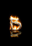 Letter b on fire Royalty Free Stock Photo