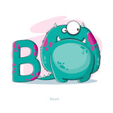 Letter B with funny Beast Royalty Free Stock Photo