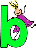 Letter B girl. Happy little girl climbing on giant letter B - lowercase version Royalty Free Stock Image