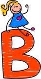 Letter B girl vector illustration