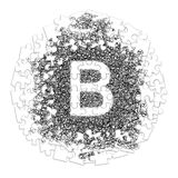 Letter B. Hand made font drawn with graphic pen on white backgro. Und in jigsaw puzzle shape Royalty Free Stock Photos
