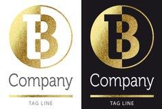 Letter B logo. Golden bright letter B logo royalty free illustration