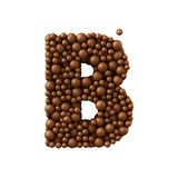 Letter B made of chocolate bubbles, milk chocolate concept, 3d render.  vector illustration