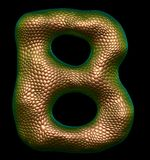Letter B made of natural gold snake skin texture isolated on black. Letter B made of natural gold snake skin texture isolated on black 3d rendering stock illustration