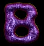 Letter B made of natural purple snake skin texture on black. 3d rendering Vector Illustration