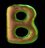 Letter B made of natural snake skin texture gold color. 3D letter render isolated on black. 3d rendering royalty free illustration
