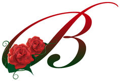 Letter B red floral  illustration. Red rose decorated Letter B font , colorful and Royalty Free Stock Photos
