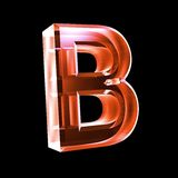 Letter B in red glass 3D Stock Photography