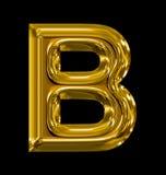 Letter B rounded shiny golden isolated on black. Background Royalty Free Stock Photo