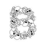 Letter B skeleton Bones Font. Anatomy of an alphabet symbol. dea. D ABC sign royalty free illustration