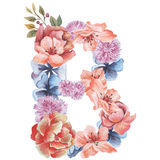 Letter B of watercolor flowers, isolated hand drawn on a white background, wedding design, english alphabet.  Stock Photo