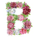 Letter B of watercolor flowers. Isolated hand drawn on a white background, wedding design, english alphabet vector illustration