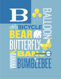 Letter B Words Typography Illustration Alphabet Poster Design Stock Images
