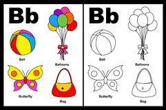 Letter B worksheet. Alphabet letter B with colorful cliparts and coloring graphics children worksheet royalty free illustration