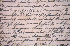 Letter background. Detail of very old historical letter as background Royalty Free Stock Images