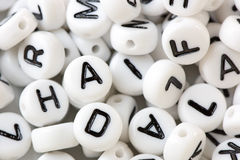 Letter Beads in Close Up Stock Image