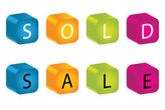 Letter blocks. Sold and sale words made by letter blocks Stock Photo
