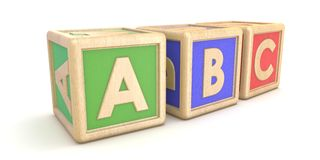 Letter blocks ABC. 3D. Render illustration isolated on white background Stock Image