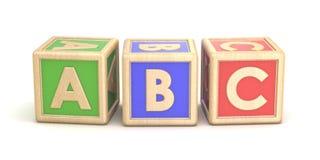 Letter blocks ABC. 3D. Render illustration  on white background Stock Image