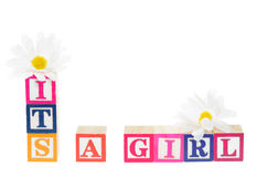 Letter blocks spelling its a boy Royalty Free Stock Photography