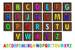 Letter Blocks. Vector illustration. Same view 26 letters of alphabet in wooden blocks Stock Photos