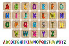 Letter Blocks. Vector illustration. Same view 26 letters of alphabet in wooden blocks Stock Images