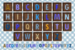 Letter Blocks. Vector illustration. Same view 26 letters of alphabet in wooden blocks Royalty Free Stock Photo