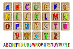 Letter Blocks. Vector illustration. Same view 26 letters of alphabet in wooden blocks Royalty Free Stock Photos