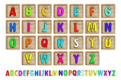Letter Blocks. Vector illustration. Same view 26 letters of alphabet in wooden blocks royalty free illustration