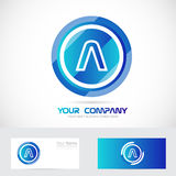 Letter A blue circle abstract logo Royalty Free Stock Photography