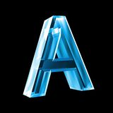 Letter A in blue glass 3D Stock Photos