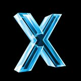 Letter X in blue glass 3D Royalty Free Stock Photography