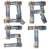 Letter of Blue jeans alphabet Royalty Free Stock Images