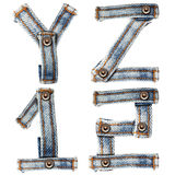 Letter of Blue jeans alphabet Royalty Free Stock Photography
