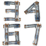 Letter of Blue jeans alphabet number Royalty Free Stock Photography