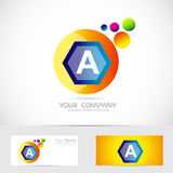 Letter a blue orange sphere logo Royalty Free Stock Photos
