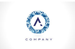 Letter A Blue Pattern Logo Design. Royalty Free Stock Images