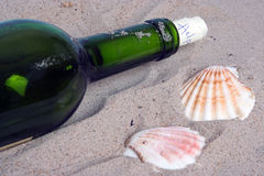 Letter in a bottle. Bottle on a beach, with a message Royalty Free Stock Image