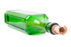 Letter in the bottle. On white background Stock Photography
