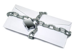 A letter is bound by a chain Royalty Free Stock Photos