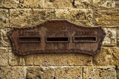 The letter box. Old letter box on the wall of the house royalty free stock photo
