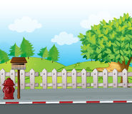 A letter box and a fire hydrant. Illustration of a letter box and a fire hydrant on a roadside Stock Images