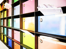 Letter boxes. Colorful letter boxes at a office in italy Royalty Free Stock Photos