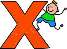 Letter X boy Stock Photo