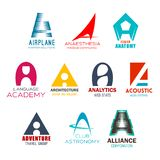 Company name letter A abstract identity. Letter A brand or company corporate identity design in aviation club, medical anatomy and anesthesia industry. Vector A vector illustration