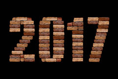 2017 letter with brick stone Stock Image