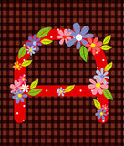 The letter A Bright floral element of colorful alphabet in  Stock Image