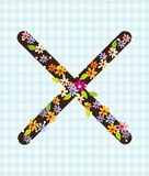 The letter X Bright floral element of colorful alphabet in. And Design Stock Photo