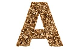 Letter A from bullets, 3D rendering royalty free illustration